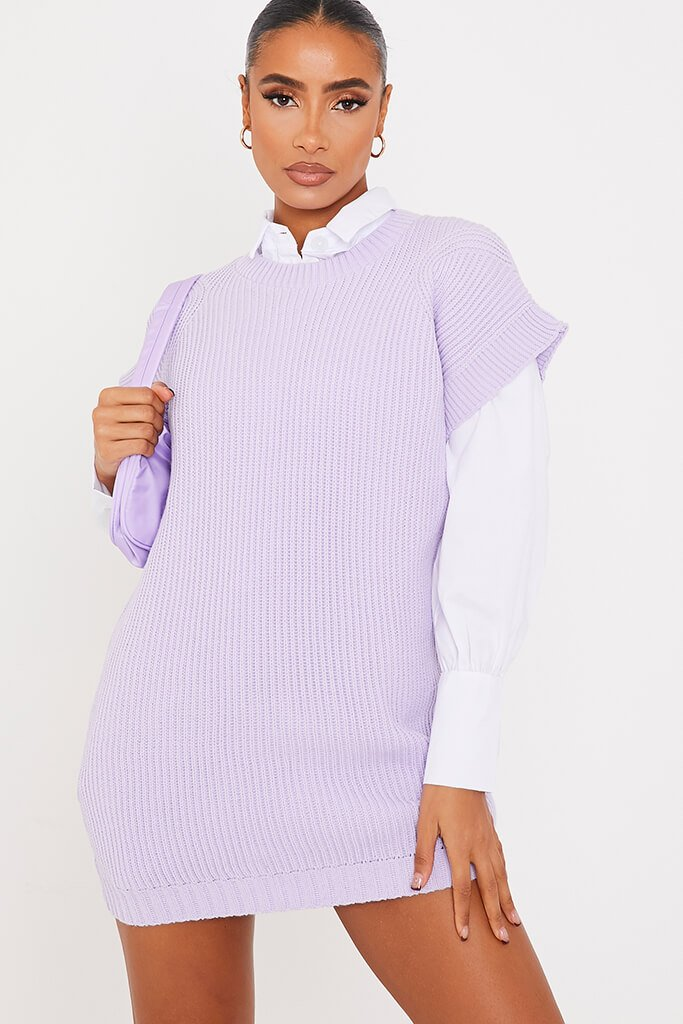 Lilac Oversized Knitted Tank Top