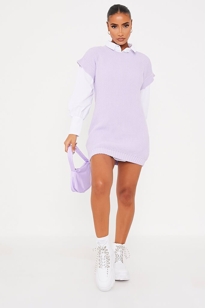 Lilac Oversized Knitted Tank Top view 2