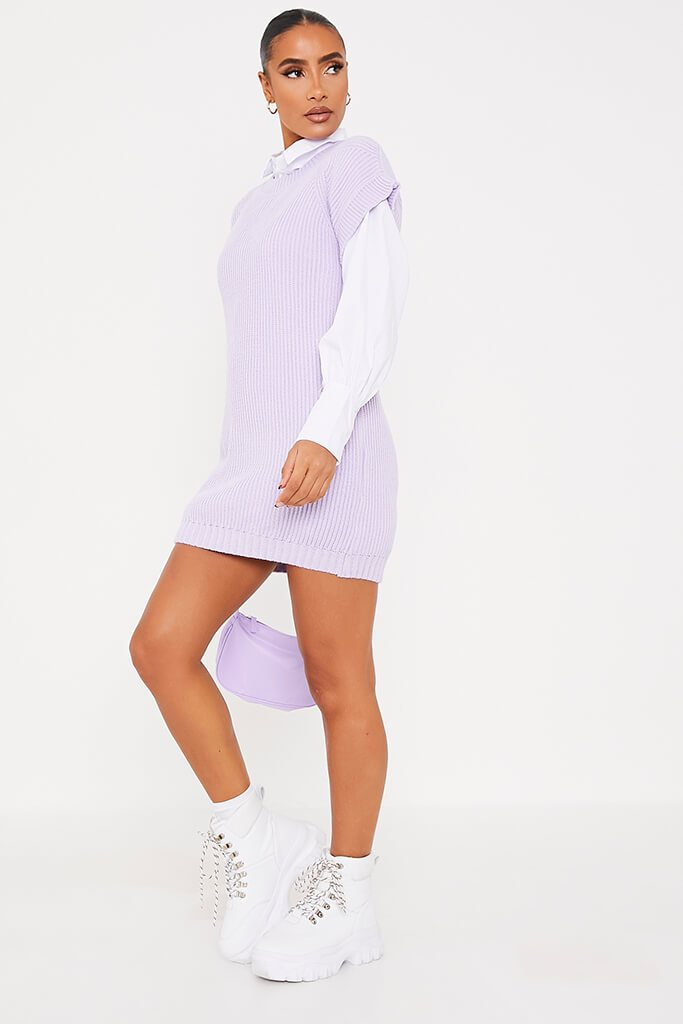 Lilac Oversized Knitted Tank Top view 3