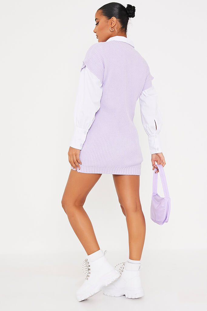 Lilac Oversized Knitted Tank Top view 4