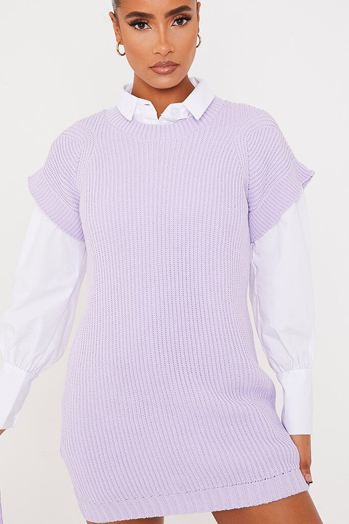Lilac Oversized Knitted Tank Top view 5