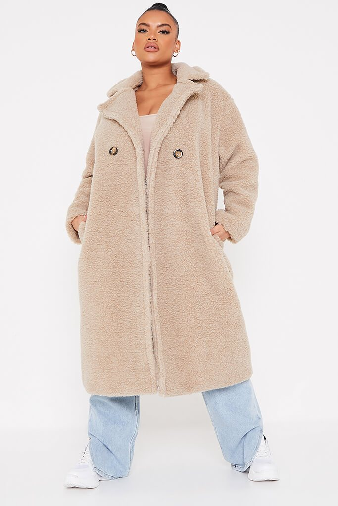 Stone Plus Longline Borg Coat