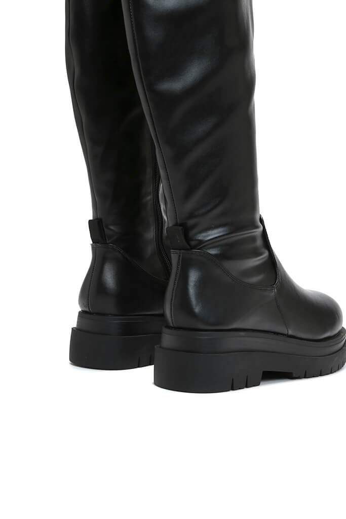 Black Cleated Sole Faux Leather Knee High Boots view 2