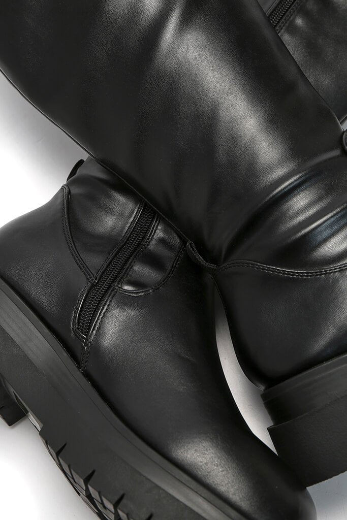 Black Cleated Sole Faux Leather Knee High Boots view 3