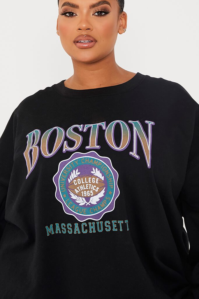 Black Plus Boston Graphic Oversized Sweater view 5