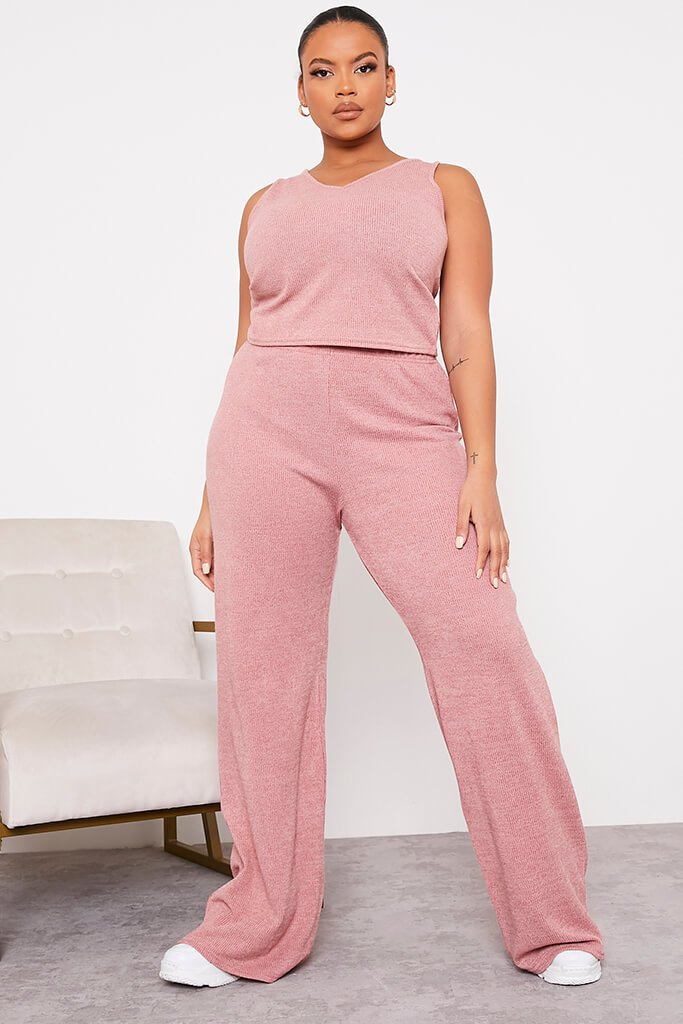 Rose Plus Size Soft Rib Wide Leg Trousers