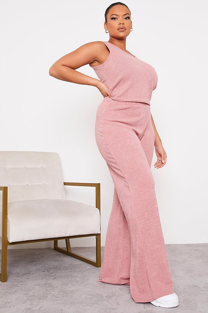 Rose Plus Size Soft Rib Wide Leg Trousers view 3