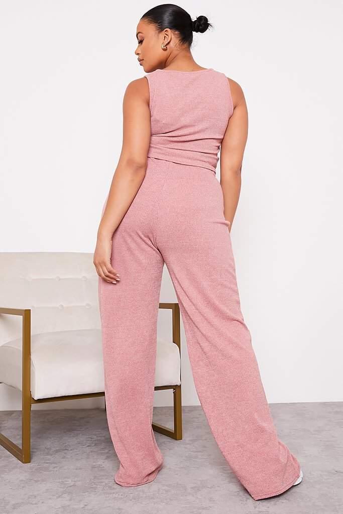 Rose Plus Size Soft Rib Wide Leg Trousers view 4