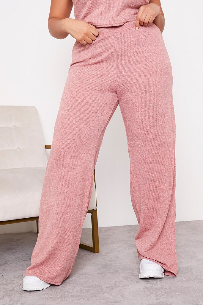 Rose Plus Size Soft Rib Wide Leg Trousers view 2
