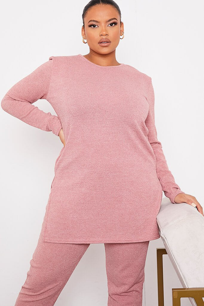 Rose Plus Size Soft Ribbed Long Sleeve Tunic