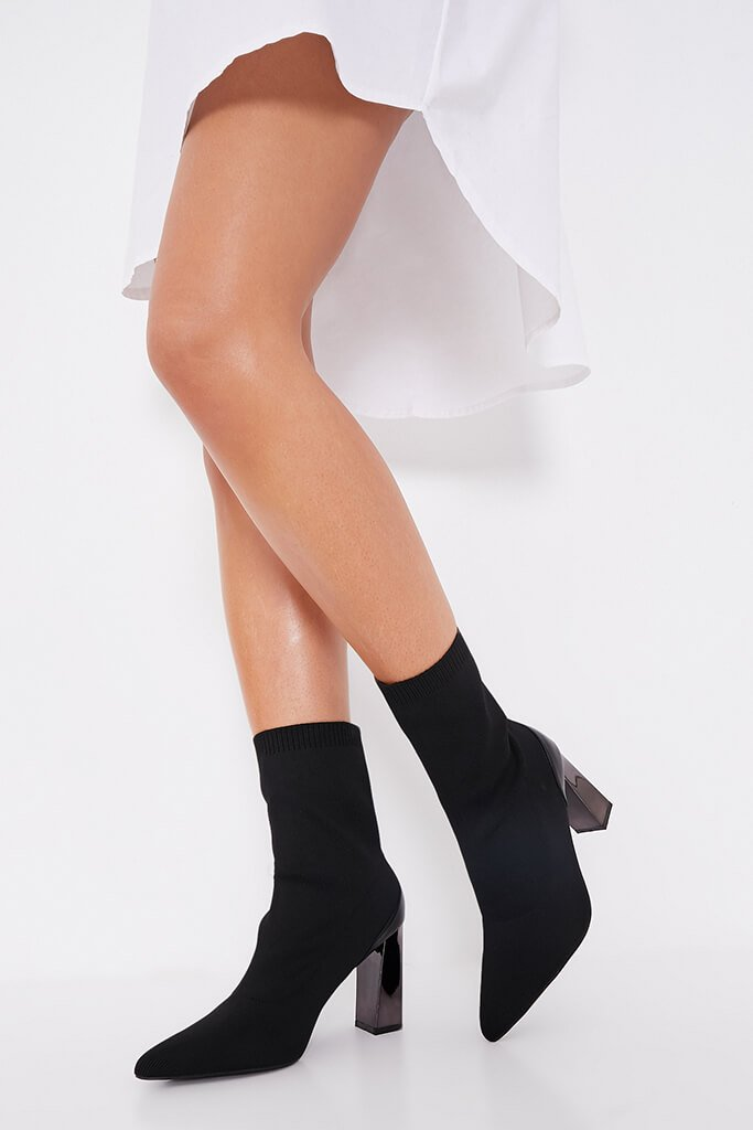 Black Feature Heel Knitted Sock Heeled Ankle Boots view 2