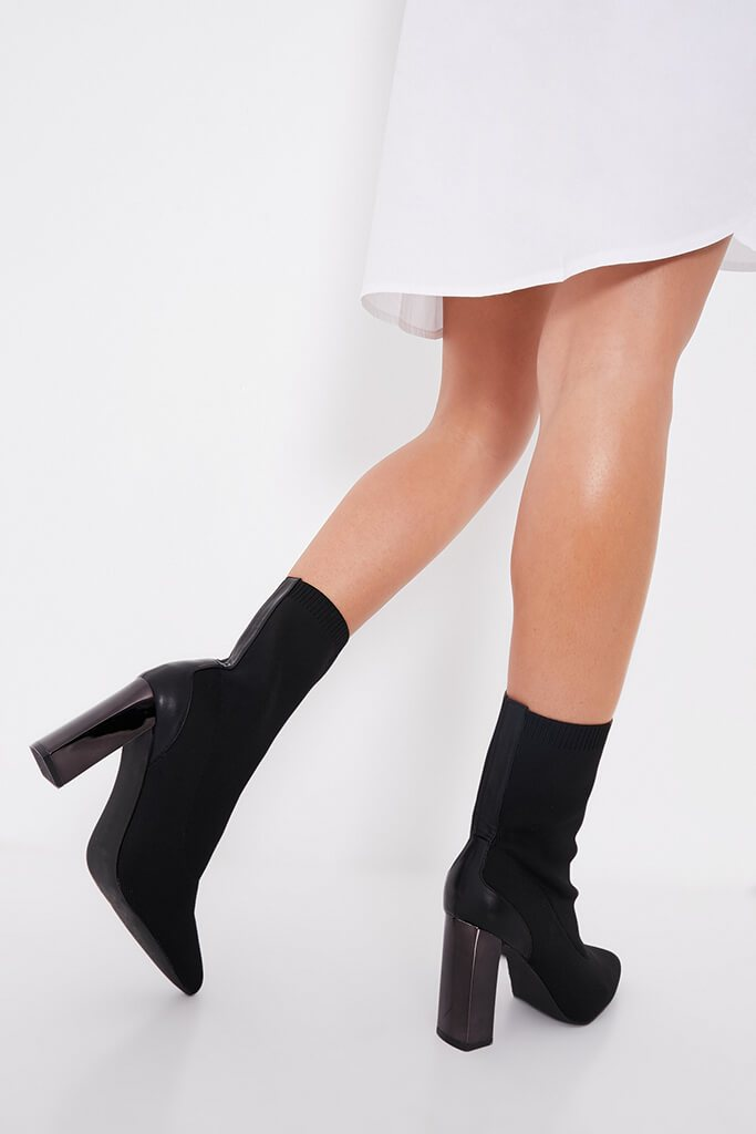 Black Feature Heel Knitted Sock Heeled Ankle Boots view 3