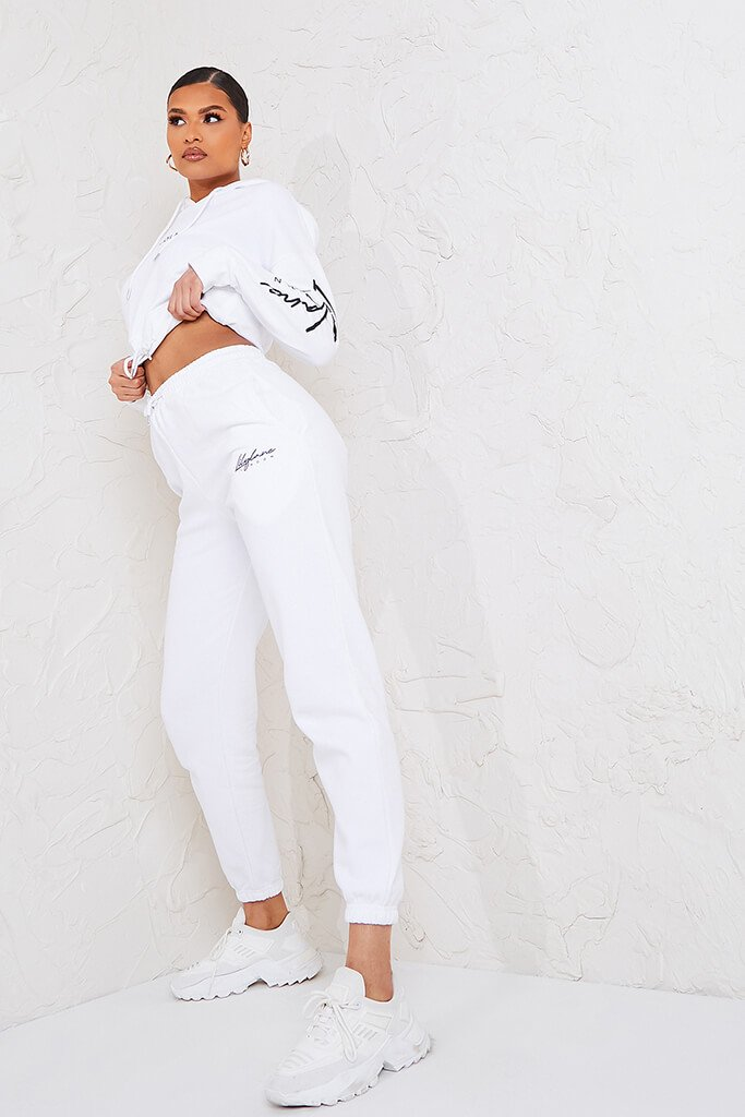 White Recycled Lilylane London Cropped Hoodie view 3