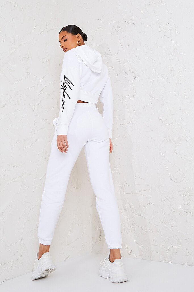 White Recycled Lilylane London Cropped Hoodie view 4
