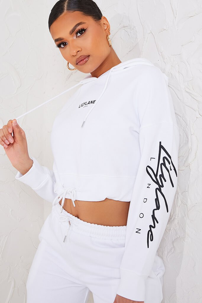 White Recycled Lilylane London Cropped Hoodie view 5