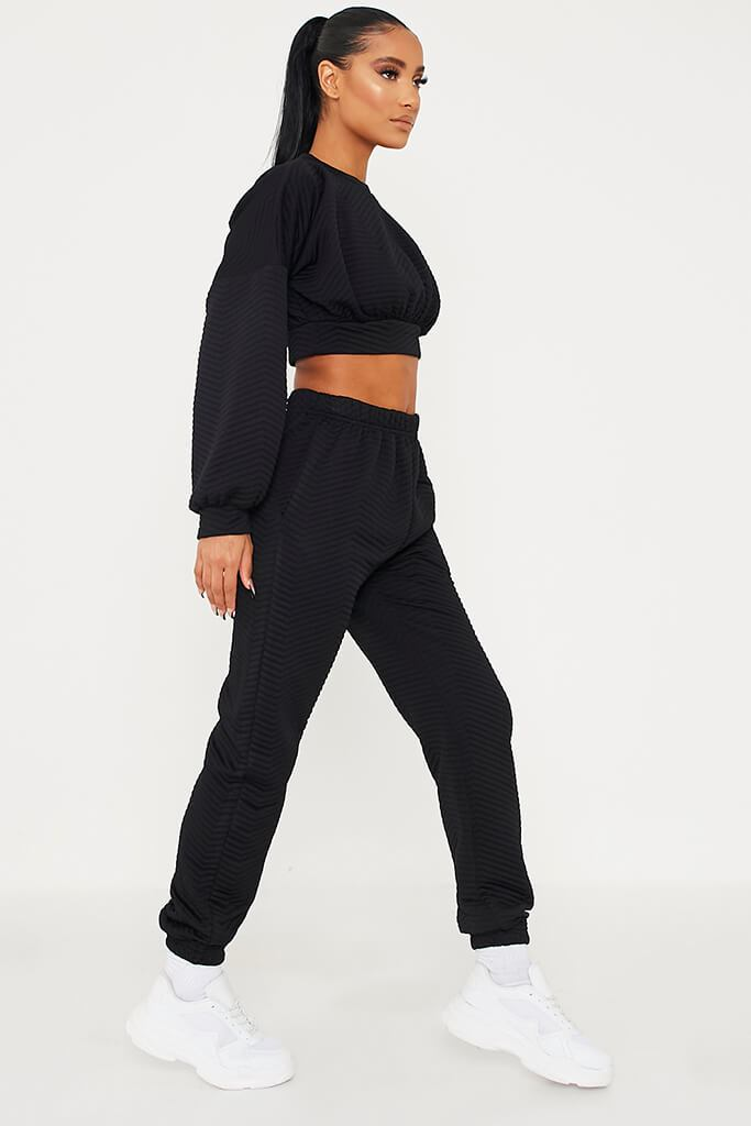 Black Brush Back Quilted Cropped Sweatshirt view 3