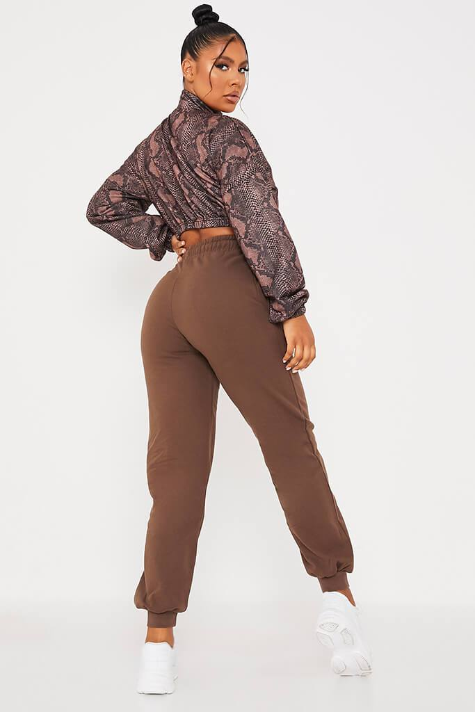 Brown Brush Back Snake Print Zip Front Sweatshirt view 4