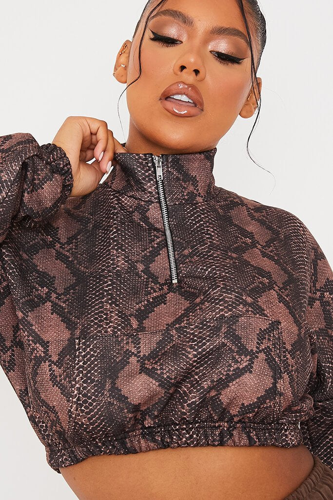 Brown Brush Back Snake Print Zip Front Sweatshirt view 5