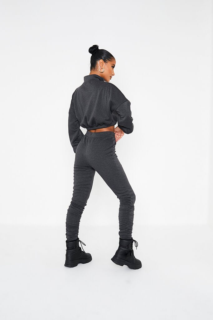 Charcoal Ruched Detail Jogger view 4