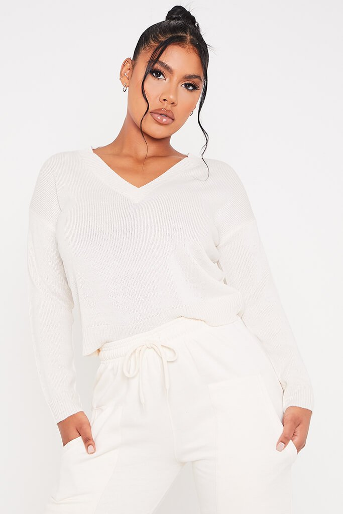 Cream V Neck Boxy Jumper