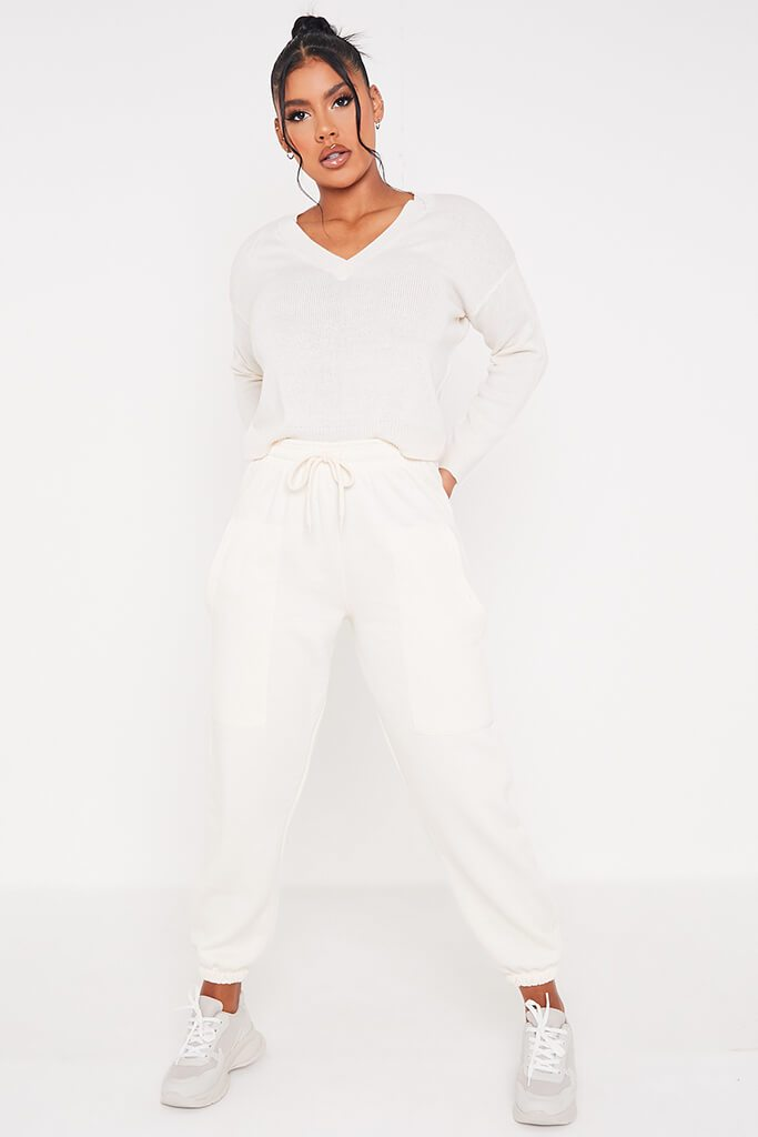 Cream V Neck Boxy Jumper view 2