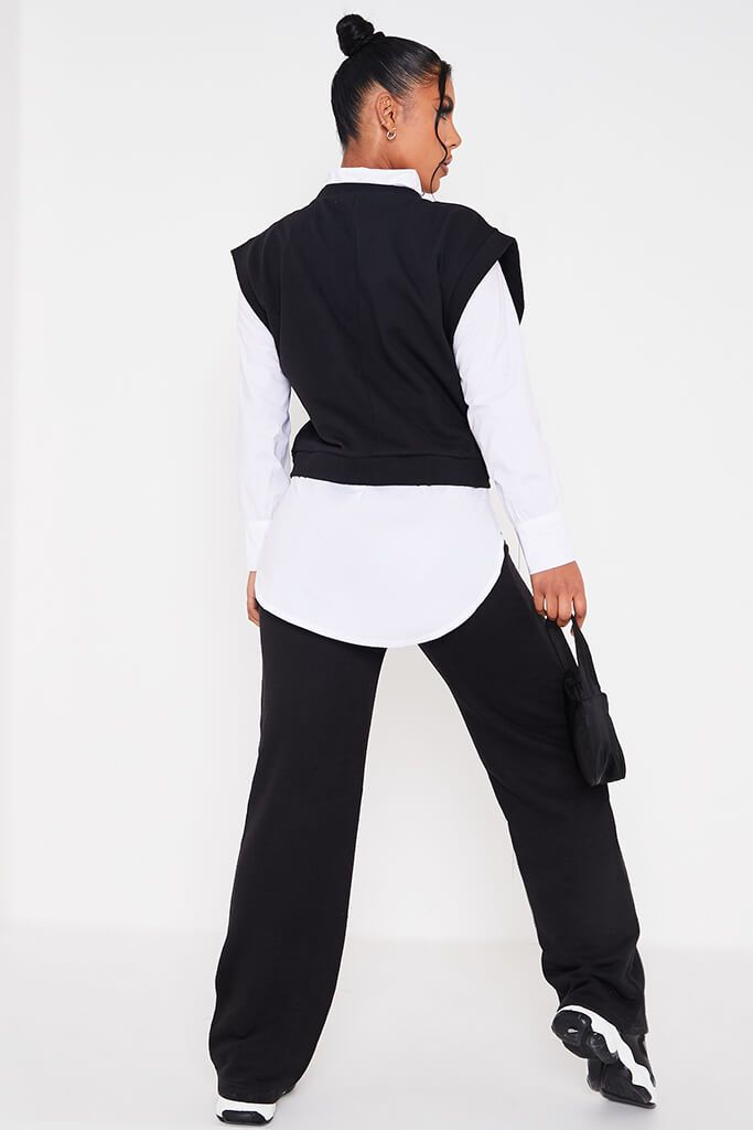 Black Drop Shoulder Sleeveless Sweater view 4