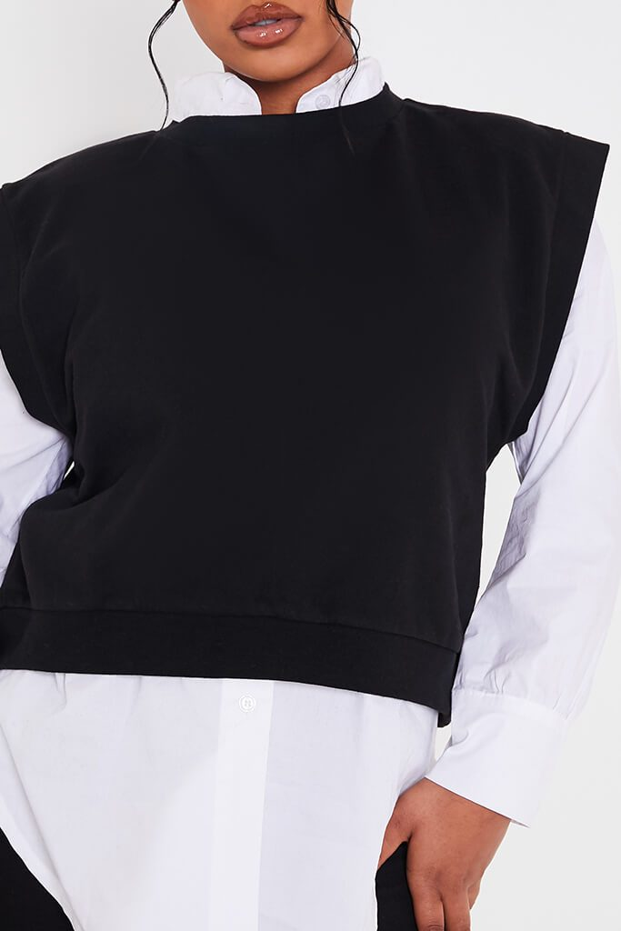 Black Drop Shoulder Sleeveless Sweater view 5