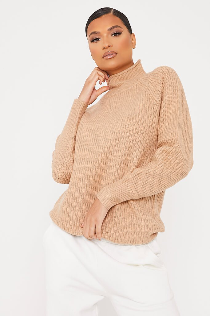Camel Oversized Fisherman Knit High Neck Jumper