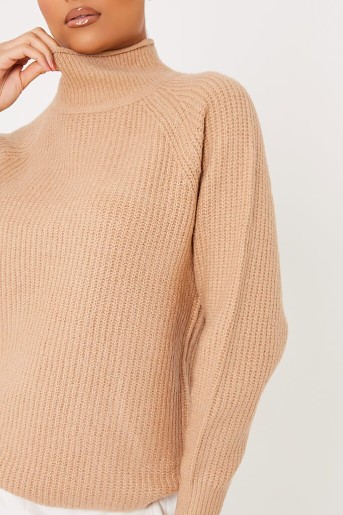 Camel Oversized Fisherman Knit High Neck Jumper view 5