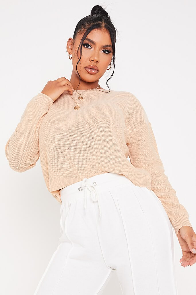 Stone Boxy Scoop Neck Jumper