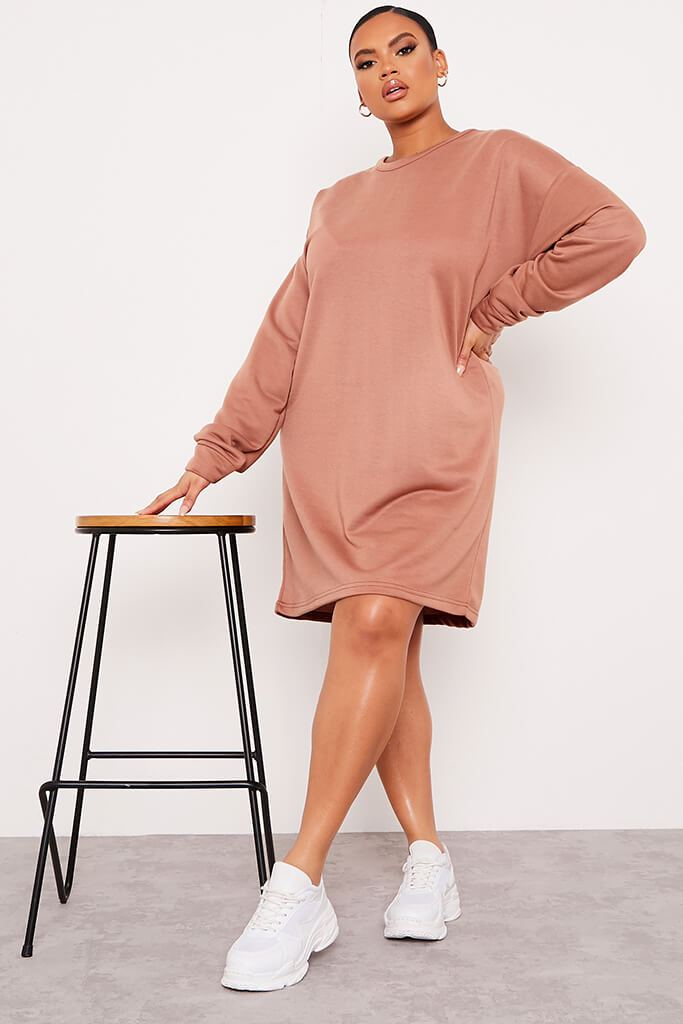 Chocolate Plus Size Oversized Sweater Dress view main view