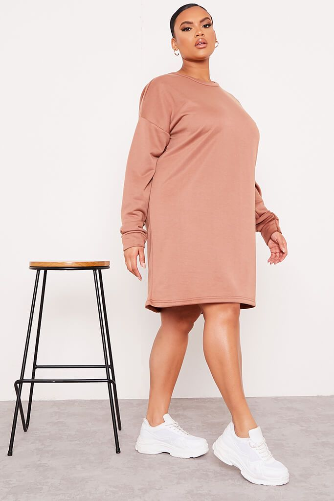 Chocolate Plus Size Oversized Sweater Dress view 3