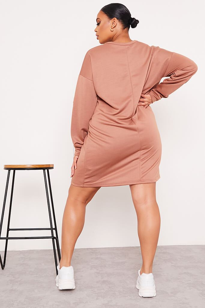 Chocolate Plus Size Oversized Sweater Dress view 4