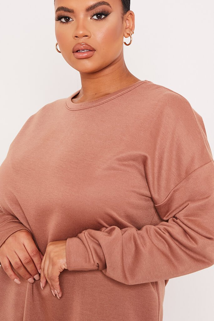 Chocolate Plus Size Oversized Sweater Dress view 5