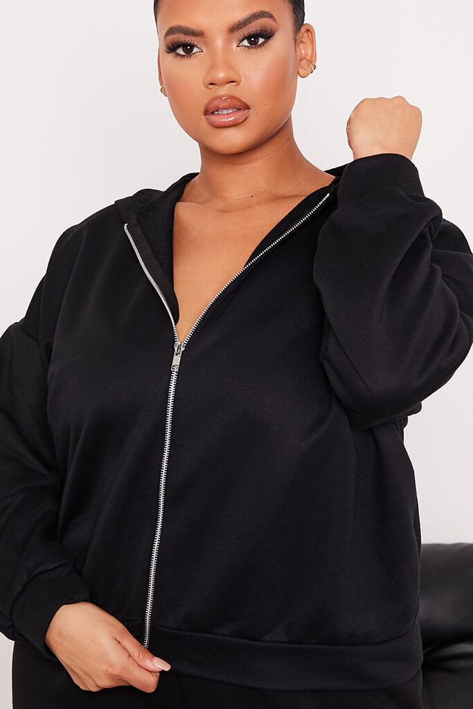 Black Plus Basic Oversized Zip Front Hoodie view 5