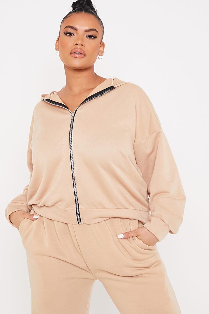 Taupe Plus Basic Oversized Zip Front Hoodie view 2