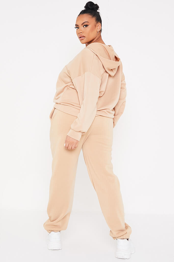Taupe Plus Basic Oversized Zip Front Hoodie view 4