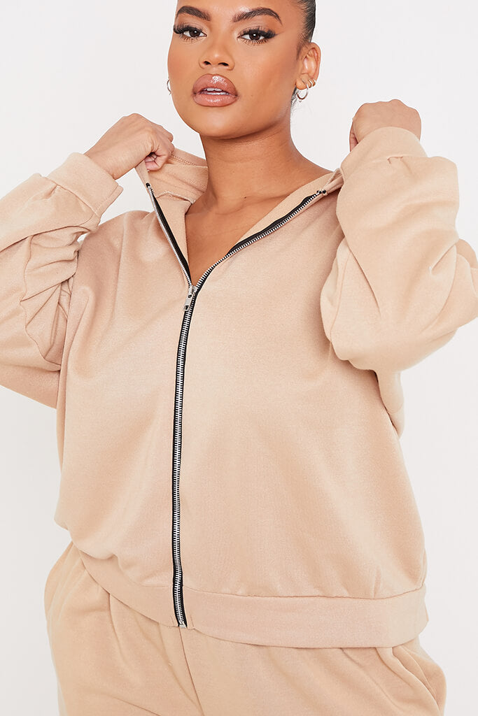 Taupe Plus Basic Oversized Zip Front Hoodie view 5