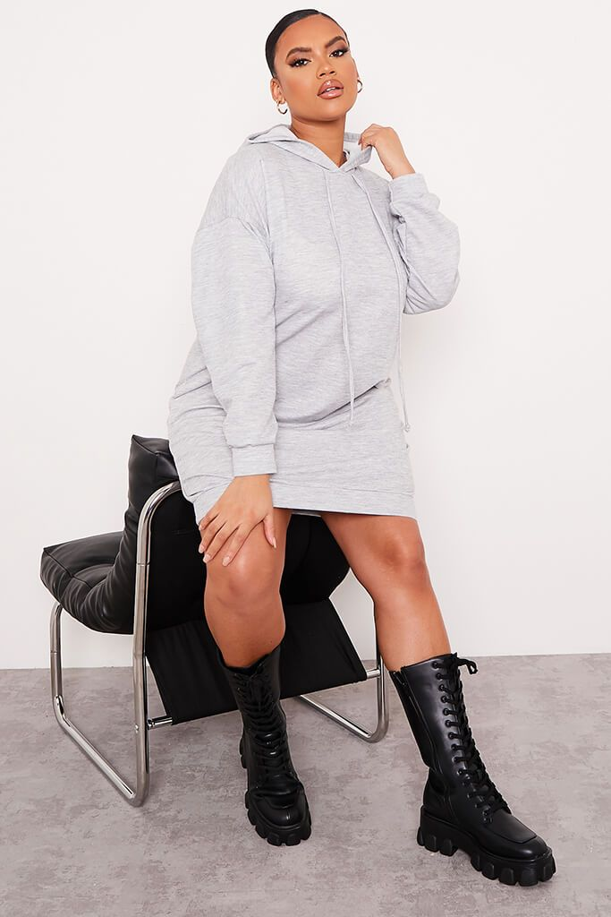 Grey Plus Loopback Hooded Oversized Sweater Dress view 2