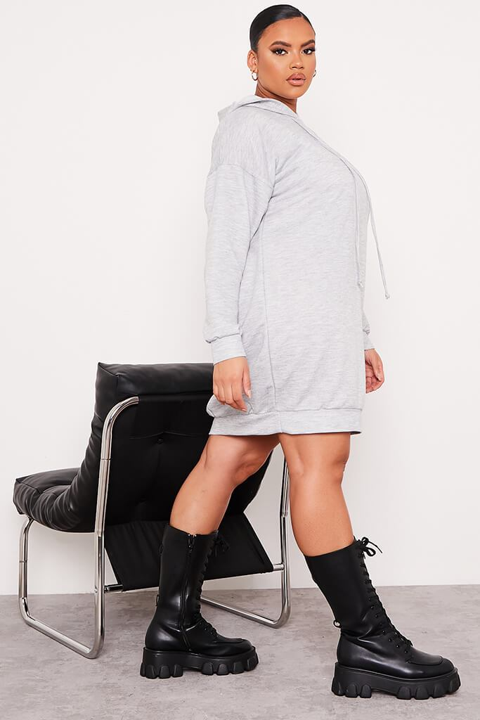 Grey Plus Loopback Hooded Oversized Sweater Dress view 3