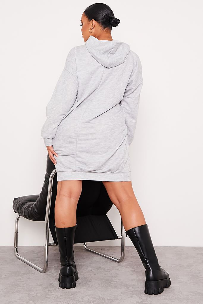 Grey Plus Loopback Hooded Oversized Sweater Dress view 4