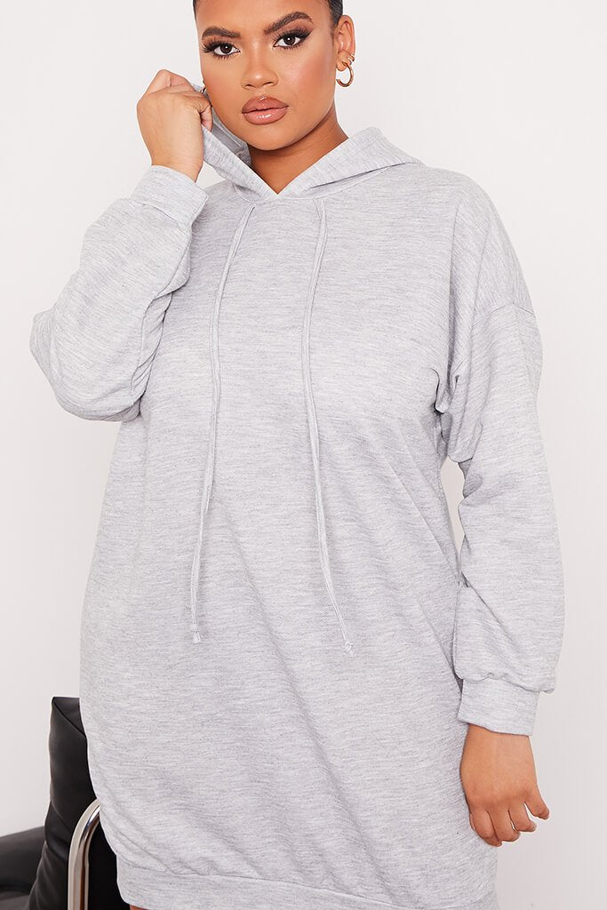 Grey Plus Loopback Hooded Oversized Sweater Dress view 5