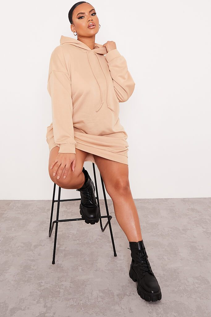 Stone Plus Size Loopback Hooded Oversized Sweater Dress