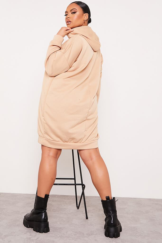 Stone Plus Size Loopback Hooded Oversized Sweater Dress view 3