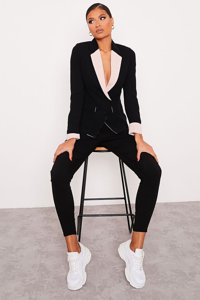 Black Contrast Trim Blazer view 2