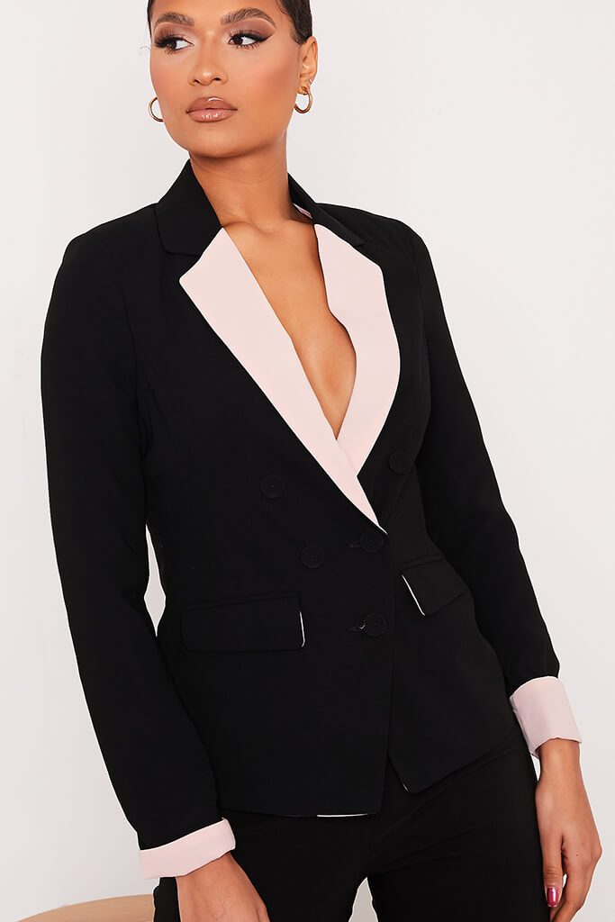Black Contrast Trim Blazer view 5