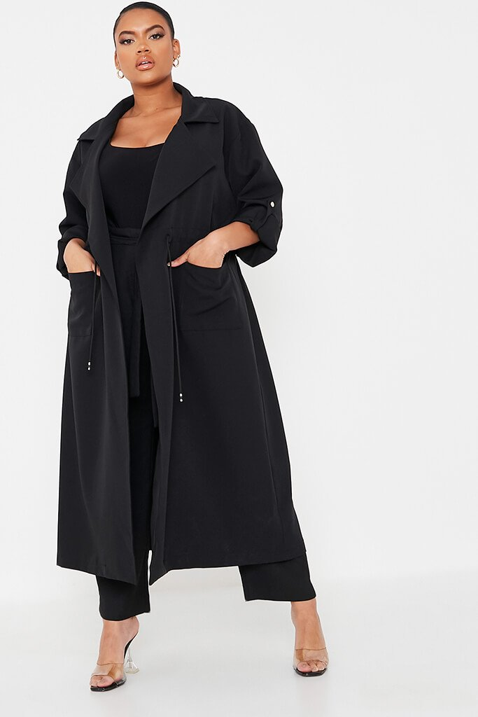 Black Plus Drawstring Waist Trench Coat