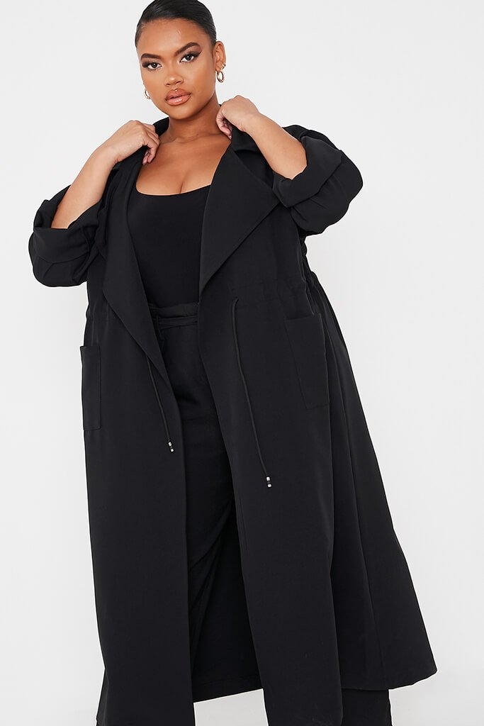Black Plus Drawstring Waist Trench Coat view 2