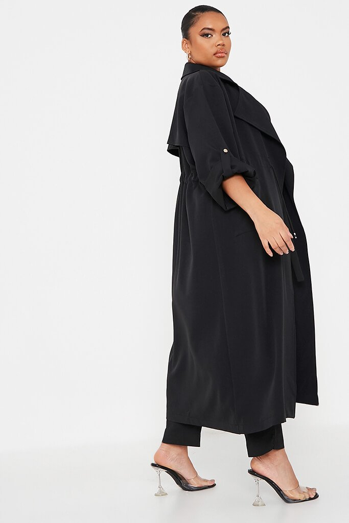 Black Plus Drawstring Waist Trench Coat view 3