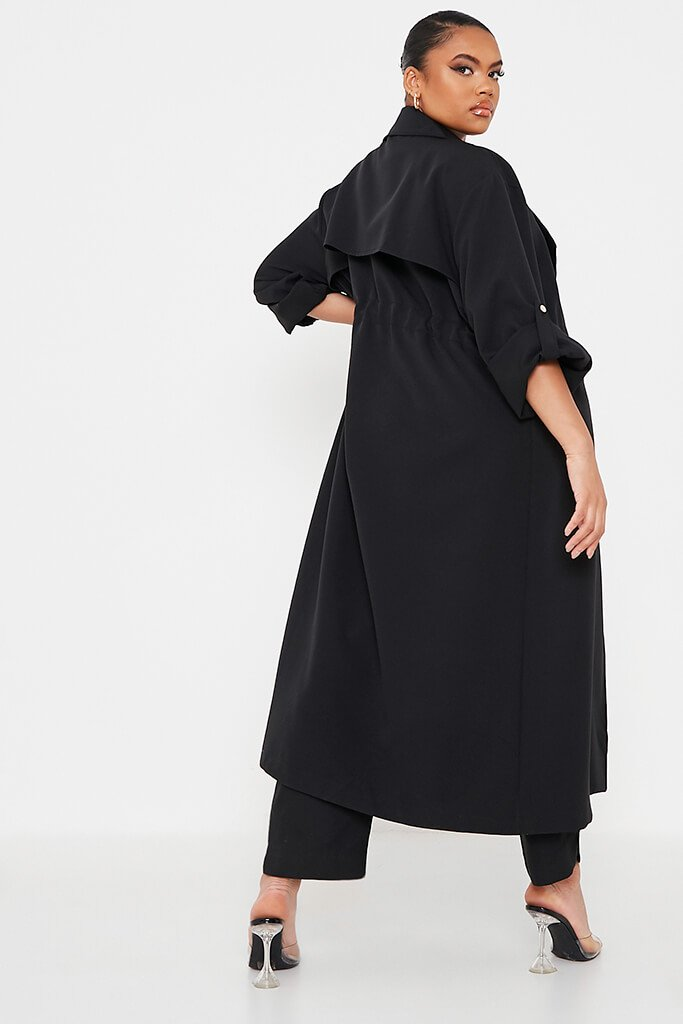 Black Plus Drawstring Waist Trench Coat view 4